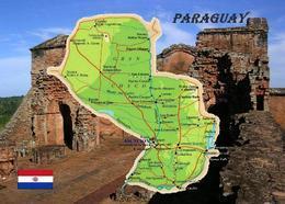 Paraguay Country Map New Postcard Landkarte AK - Paraguay