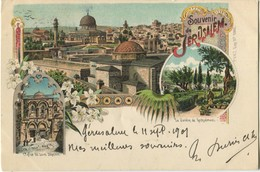 ISRAEL Souvenir De Jerusalem 1901 Carte Type Gruss - Israel