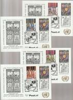 D 1368) SSt 25.11.2000 UNO Wien Mi# 179 + Österreich Mi# 2318-2321: Hundertwasser - Modern