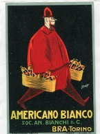 "PUBBLICITA'_ADVERTISING_REKLAM-ETICHETTA (ADESIVA) ""AMERICANO BIANCO""SOC.AN.BIANCHI&C-BRA-TORINO-Original 100% /AN3- - Advertising"