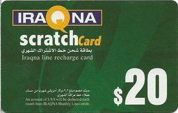 Iraq - Iraqna - Scratchcard Green, Exp. 01.08.2005, Prepaid 20$, (Backside #1), Used - Irak