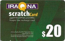 Iraq - Iraqna - Scratchcard Green, Exp. 01.08.2005, Prepaid 20$, (Backside #2), Used - Iraq
