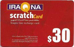 Iraq - Iraqna - Scratchcard Red, Exp. 01.08.2005, Prepaid 30$, (Type #2), Used - Iraq
