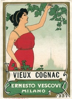 "PUBBLICITA'_ADVERTISING_REKLAM-ETICHETTA  ""VIEUX COGNAC"" ERNESTO VESCOVI -MILANO-Original 100% /AN3- - Advertising"