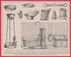 Hydrothérapie. Matériels, Salle De Bain Et De Toilette. Illustration Maurice Dessertenne. Larousse 1920 - Vieux Papiers