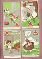 4 CPA- Culotte Venusta - Jalousie - Maraude -Pile Ou Face - A La Manière De....(enfant , Poupée , Chien , Panier Cerises - Advertising
