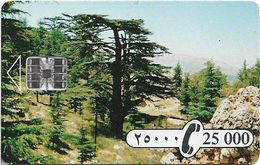 Lebanon - Sodetel (Chip), Cedar Tree, Chip SC7, Cn. 00039650 Orange, 25.000LL, Used - Lebanon