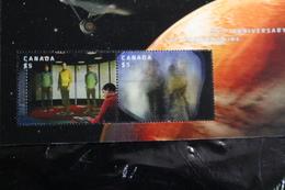 Canada 2922 STAR TREK 50th Lenticular Souvenir Sheet Block HIGH VALUE 2 STAMPS Cancelled A04s - Blocks & Sheetlets