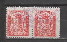 ANDORRA CONSELL GENERAL DE LES VALLS PAREJS DE  25 Cts. USADO   (S.29) - Spanish Andorra