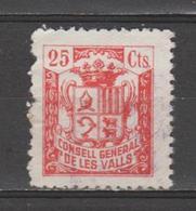 ANDORRA CONSELL GENERAL DE LES VALLS   25 Cts.    (S.29) - Spanish Andorra