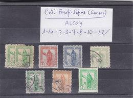 ALCOY (ALICANTE) 8 VIÑETAS LOCALES GUERRA CIVIL Nº 1 - 1a - 2 - 3 - 7 - 8- 10 - 12 CATALOGO FESOFI-SOFIMA (CORREOS) - Verschlussmarken Bürgerkrieg