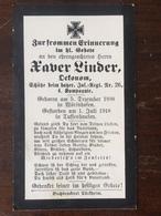 Sterbebild Wk1 Bidprentje Avis Décès Deathcard IR26 Schütze 1. Juli 1918 In Tussenhausen Aus Wörishofen - 1914-18