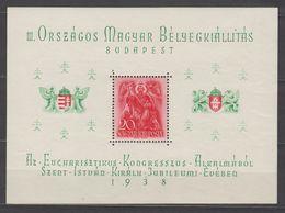Hungary Souvenir Sheet Philatelic Exhibition Budapest 1938 Sc#528 MH - Hungary