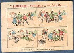 Chromo Biscuits Pernot Histoire Sans Paroles Humour Litho Courbe Rouzet Belle Maman Prend Sa Leçon Chute De Vélo - Pernot