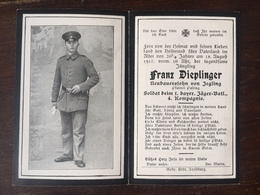 Sterbebild Wk1 Bidprentje Avis Décès Deathcard 1. Jäger Bataillon Alpenkorps August 1917 Aus Jegling - 1914-18