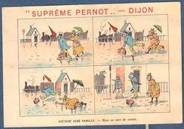 Chromo Biscuits Pernot Histoire Sans Paroles Humour Litho Courbe Rouzet Rien De Sert De Courir Station Gare Train Chute - Pernot