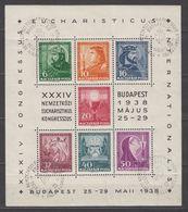 Hungary Souvenir Sheet 1938 Sc#B94 Commemorative Cancel - Hungary