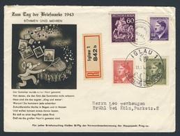 Böhmen Und Mähren 1943 Brief Cover Enveloppe - Tag Der Briefmarke 1943, Iglau / Jihlava / Journée Du Timbre - Stamp's Day