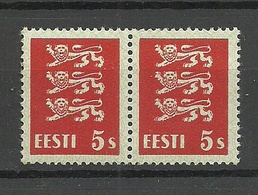 ESTLAND Estonia 1928 Michel 77 Thin Paper Type Dünne Papiersorte As A Pair MNH - Estland