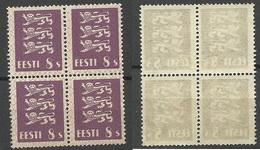 ESTLAND Estonia 1929 Michel 78 In 4-block Thin Paper Type MNH/MH (2 Obere MH/*, 2 Untere MNH/**) - Estonia