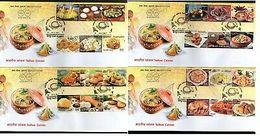 India 2017 Indian Cuisine Regional Festival Foods Meals 24v Se-Tenant FDCs - Food