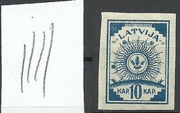 LATVIA Lettland 1919 Michel 17 Vertically Ribbed Paper Type MNH - Latvia