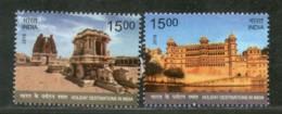 India 2018 Holiday Destinations City Palace Udaipur Stone Chariot Hampi 2v MNH - Holidays & Tourism