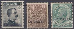 ITALIA - LA CANEA - 1907/1912 - Lotto Di 3 Valori Nuovi MH: Unificato 1, 14 E 16. - La Canea
