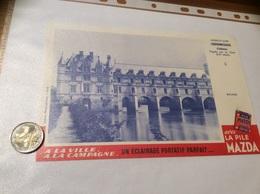 Buvard «LA PILE MAZDA - N°3 CHENONCEAUX Château Indre-et-Loire» - Electricité & Gaz