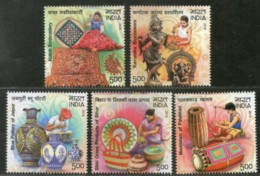 India 2019 Handicraft Embroidery Pottery Musical Instrument Bronzeware 5v MNH - Art