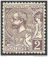 630 Monaco YT 12 2c Brun 1891 MH * Neuf (MON-53) - Monaco