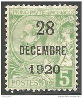 630 Monaco YT 48 5c Vert 1901 Surchargé 1920 MH * Neuf Sans Gomme (MON-63) - Monaco