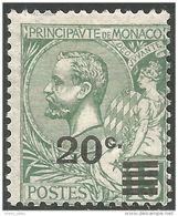 630 Monaco YT 51 15c Vert 1901 Surchargé 20c En 1922 MH * Neuf (MON-64) - Monaco