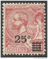 630 Monaco YT 52 10c Rose 1901 Surchargé 25c En 1922 Sans Gomme MH * Neuf (MON-65) - Monaco