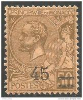 630 Monaco YT 70 Prince Albert Surcharge 45c MH * Neuf (MON-72) - Monaco