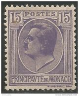 630 Monaco YT 77A Prince Louis II 15c Violet MH * Neuf (MON-75) - Monaco