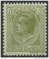 630 Monaco YT 90 Prince Louis II 75c Vert MH * Neuf (MON-77) - Monaco