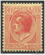 630 Monaco YT 93 Prince Louis II 80c Rouge MH * Neuf (MON-78) - Monaco