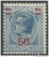 630 Monaco YT 108 Prince Louis II 50c Sur 1f25 MH * Neuf (MON-83) - Monaco