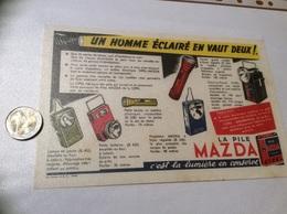 Buvard ** «LA PILE MAZDA - UN HOMME ÉCLAIRÉ EN VAUT DEUX !» - Electricidad & Gas