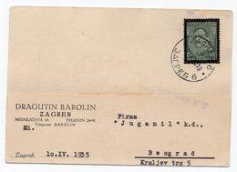 1935 YUGOSLAVIA, CROATIA, ZAGREB TO BELGRADE, SERBIA, CORRESPONDENCE CARD, DRAGUTIN BAROLIN - 1931-1941 Kingdom Of Yugoslavia