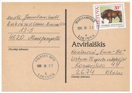 Mi 599 Solo Postcard / WWF Bison Bonasus European Bison - 25 June 1996 Marijampolė - Lituania