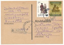 Registered Postcard / Traditional Costumes - 27 June 1996 Marijampolė - Lituania