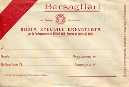 "PUBBLICITA'_ADVERTISING_REKLAM-BERSAGLIERI""BUSTA SPECIALE BREVETTATA-PER LA CORRISPONDENZA MILITARE -Original 100% /AN3- - Publicité"