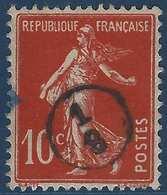 France Semeuse N°135 10c Rouge Oblitéré Du Cachet à Main De Facteur 1/8 Rond RR - Marcophilie (Timbres Détachés)