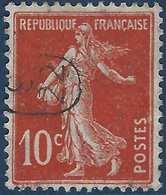 France Semeuse N°138 10c Rouge Oblitéré Du Cachet à Main De Facteur 9/22 Ovale RR - Marcophilie (Timbres Détachés)