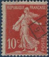 France Semeuse Avec Sol N°134 10c Rouge Oblitéré Du Cachet à Main De Facteur 6/4 Rectangle RRR - Marcophilie (Timbres Détachés)