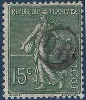 France Semeuse N°130 15c Vert Oblitéré Du Cachet à Main De Facteur OR Rond R - Marcophilie (Timbres Détachés)