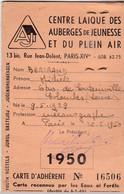 Centre Laique Des Auberges De Jeunesse Et Du Plein Air - 1950 - Vieux Papiers