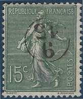 France Semeuse N°130 15c Vert Oblitéré Du Cachet à Main De Facteur 9/15  Rond RR - Marcophilie (Timbres Détachés)